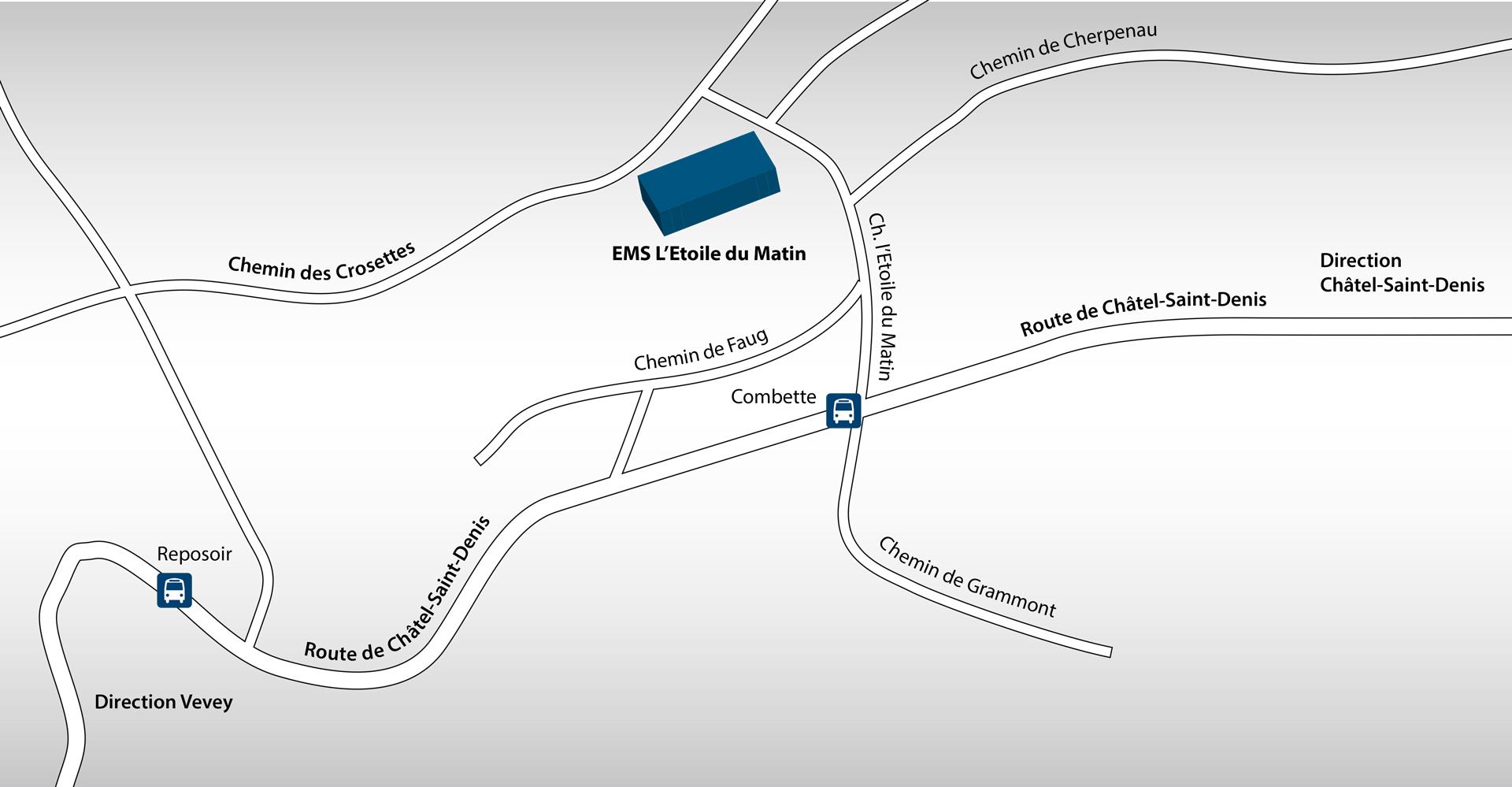 L'accès est aisé en voiture et deux parkings jouxtent l'établissement. L'arrêt de bus, La Combette, des lignes Vevey-Châtel-Saint-Denis et Vevey–Attalens, (toutes les heures) se trouve juste en dessous, à 5 minutes à pied de l'Étoile du Matin. Le funiculaire Vevey–Corseaux-Mont-Pèlerin, avec arrêt à Chardonne, permet également de rallier l'établissement au prix d'un petit effort physique (marche d'environ 25 minutes).