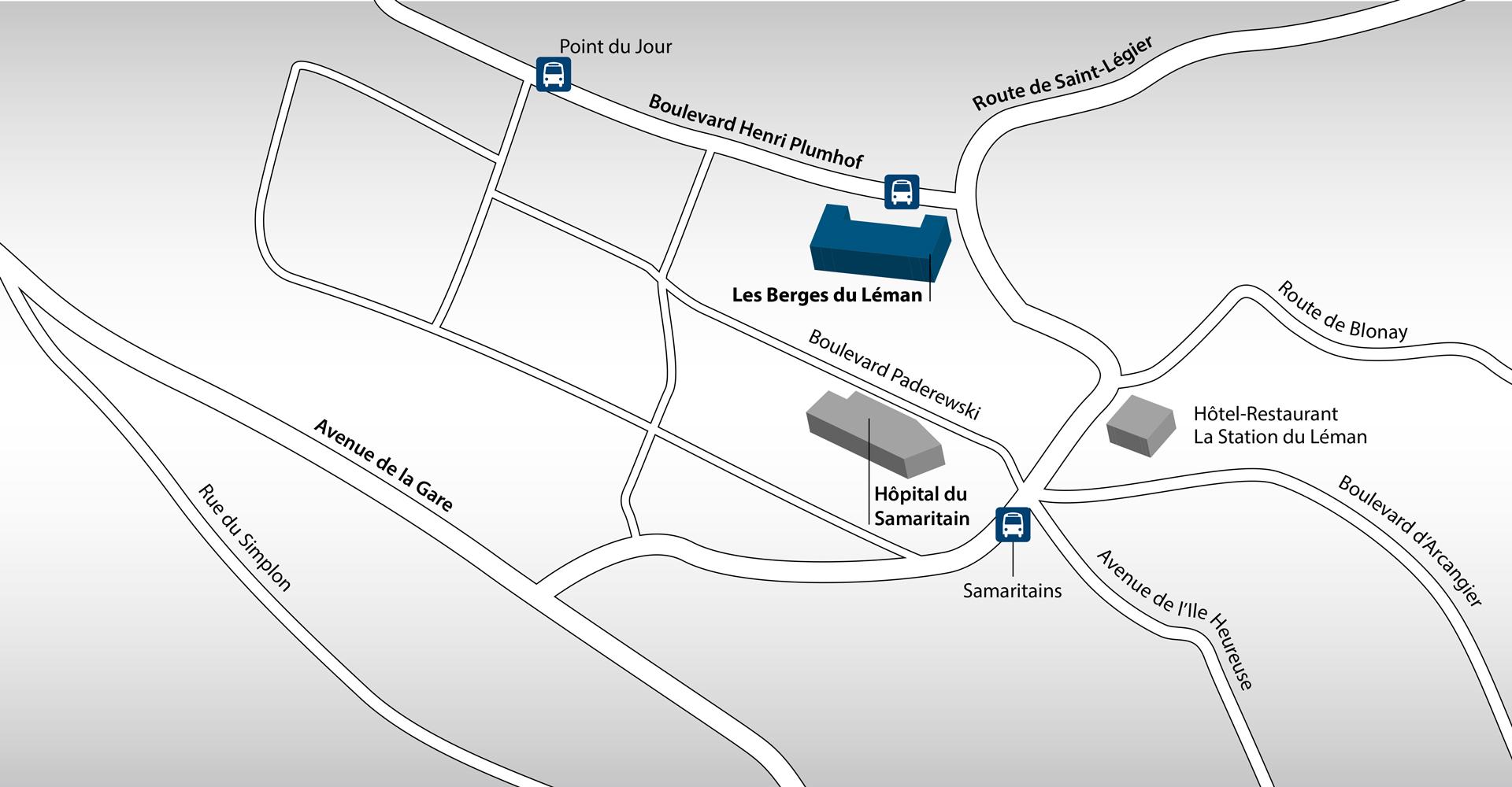 D'accès facile en voiture, l'établissement l'est tout autant en bus. Depuis Vevey, le n°202 passe par l'arrêt « Les Berges du Léman » situé juste devant la résidence. L'établissement dispose d'un parking.