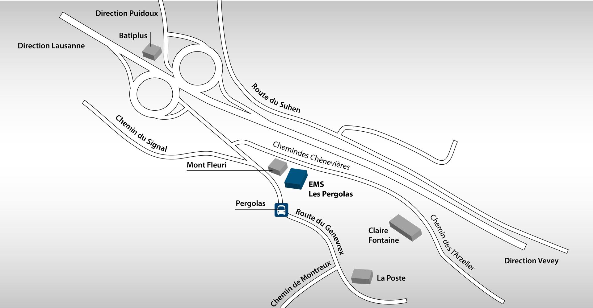 Toutes les heures de 6 à 22 heures, le Train des Vignes reliant Puidoux-Gare à Vevey s'arrête non loin de la résidence (10 minutes à pied). Le service info des CFF fournit toute précision utile. La résidence dispose de deux parkings.