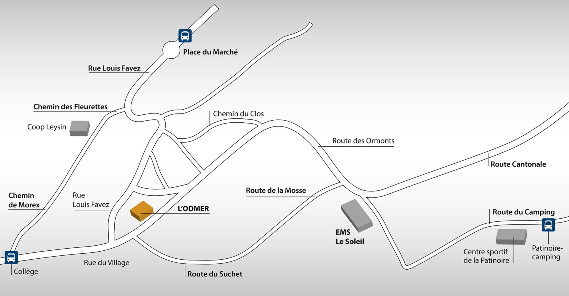 Plan d'accès à l'EMS l'ODMER à Leysin en Suisse